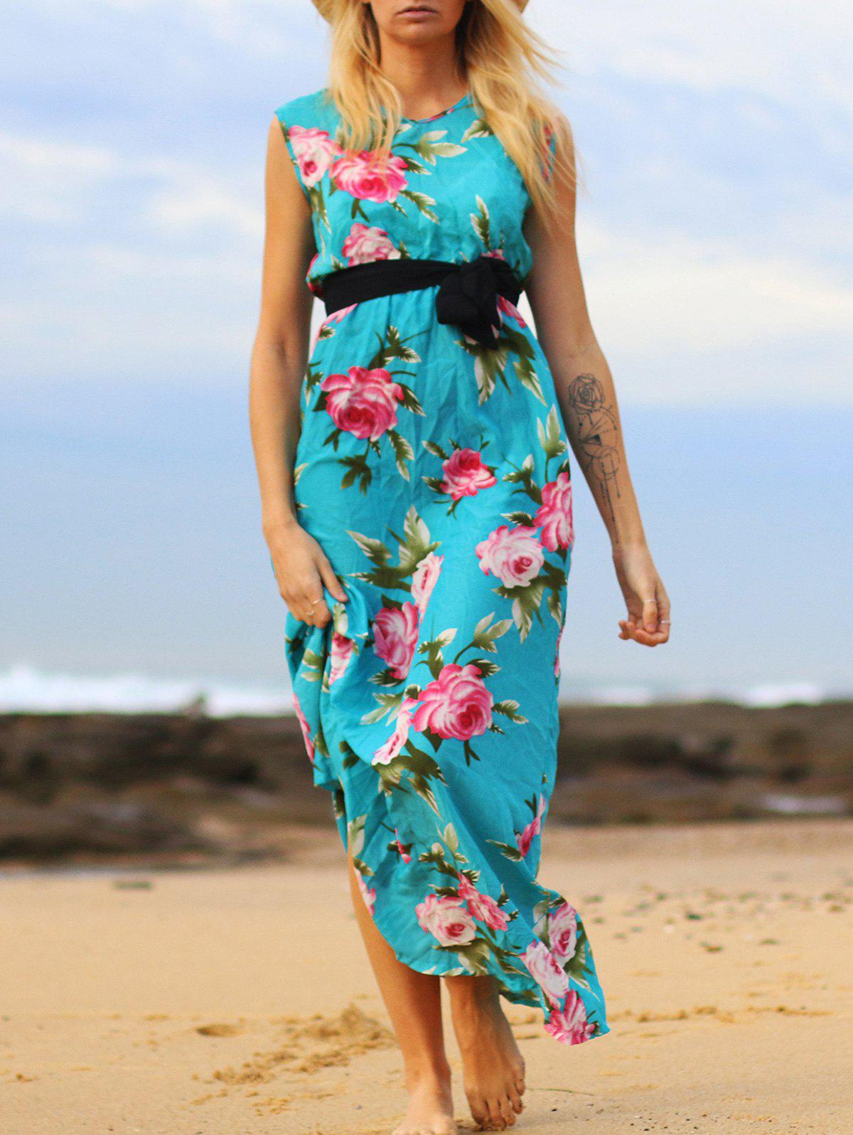 Charming Floral Printed V-Neck Sleeveless Pleated Maxi Dress - LAKE BLUE XL