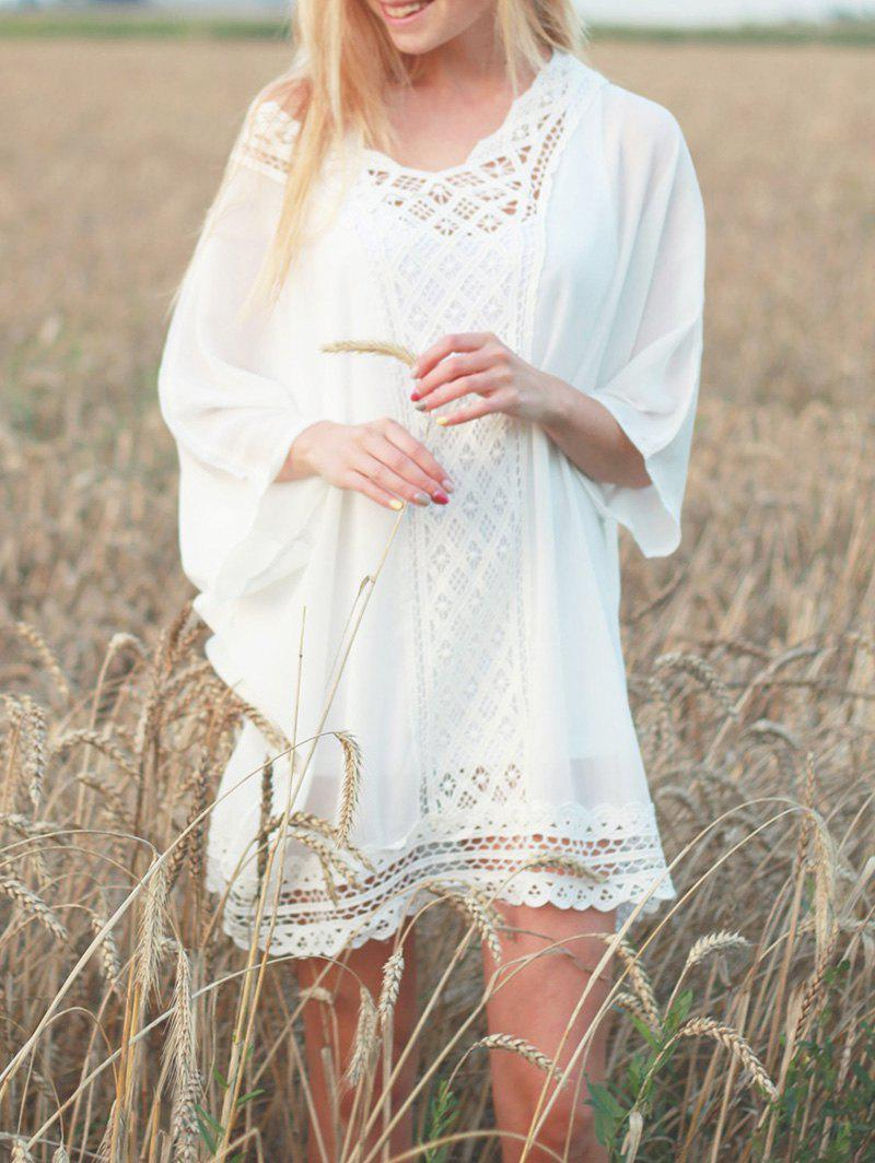 Brief V-Neck 1/2 Sleeve Women's Openwork Cover-Up - WHITE ONE SIZE(FIT SIZE XS TO M)