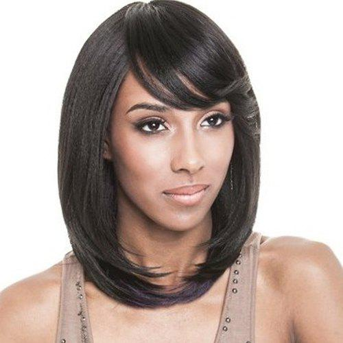 Charming Black Purple Mixed Synthetic Side Bang Medium Tail Adduction Wig For Women - BLACK/PURPLE