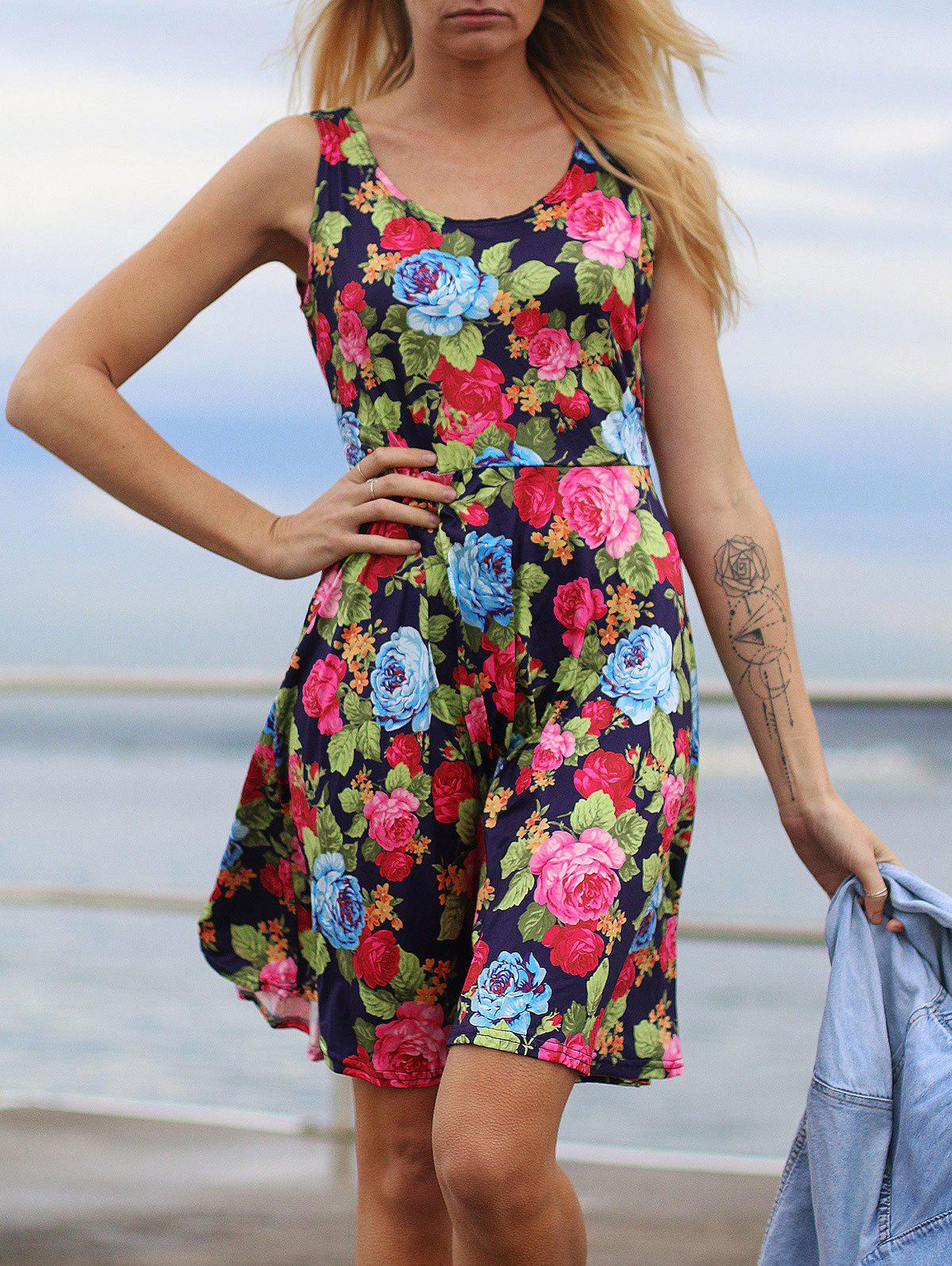 Fresh U Neck Floral Printed Sleeveless Dress - PURPLISH BLUE XL