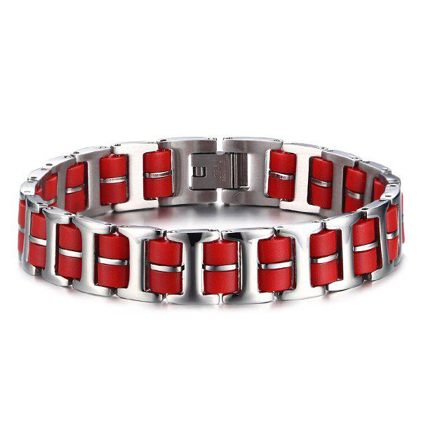 Simple Silicone Stainless Steel Bracelet For Men - RED