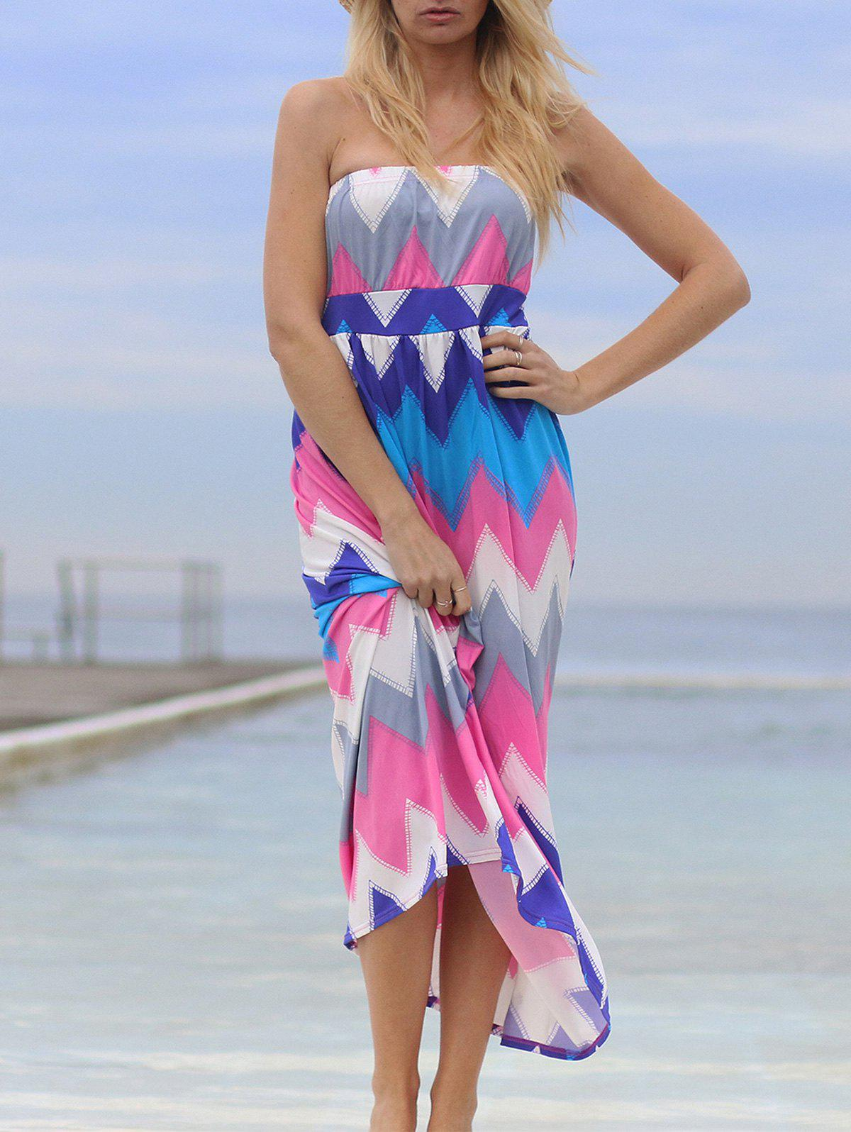 Fresh Women's Strapless Colorful Zigzag Dress - ROSE XL