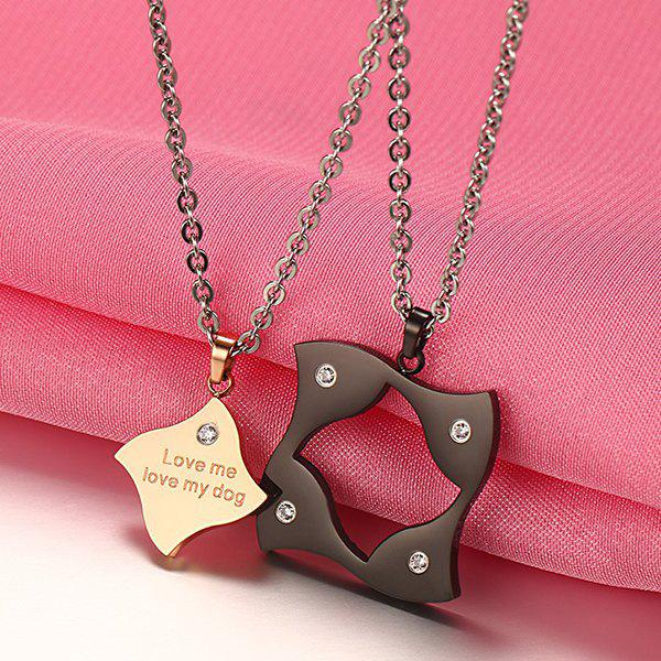 Pair of Simple Rhinestone Puzzle Couples Pendants - COLORMIX