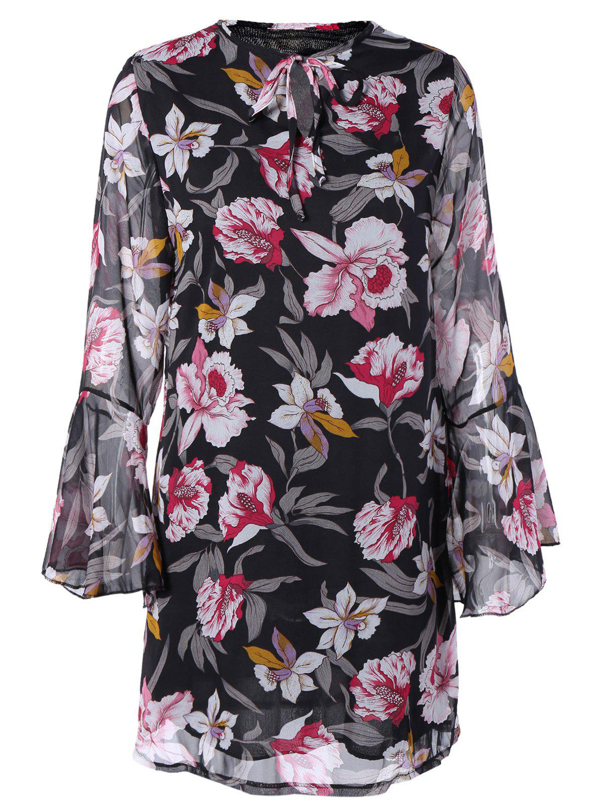 Ladylike Flare Sleeve Floral Dress For Women - BLACK XL