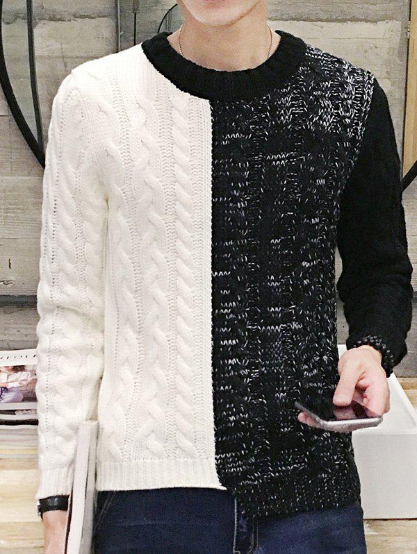 Color Block Spliced Design Round Neck Long Sleeve Men's Sweater, White and black