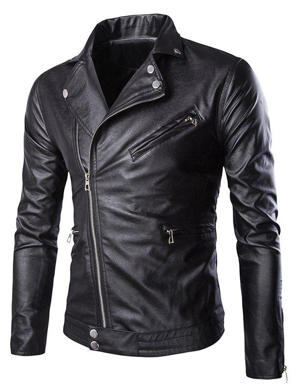 Zippered Solid Color Snap Buttoned Long Sleeve Men's Faux Leather Jacket - BLACK 3XL