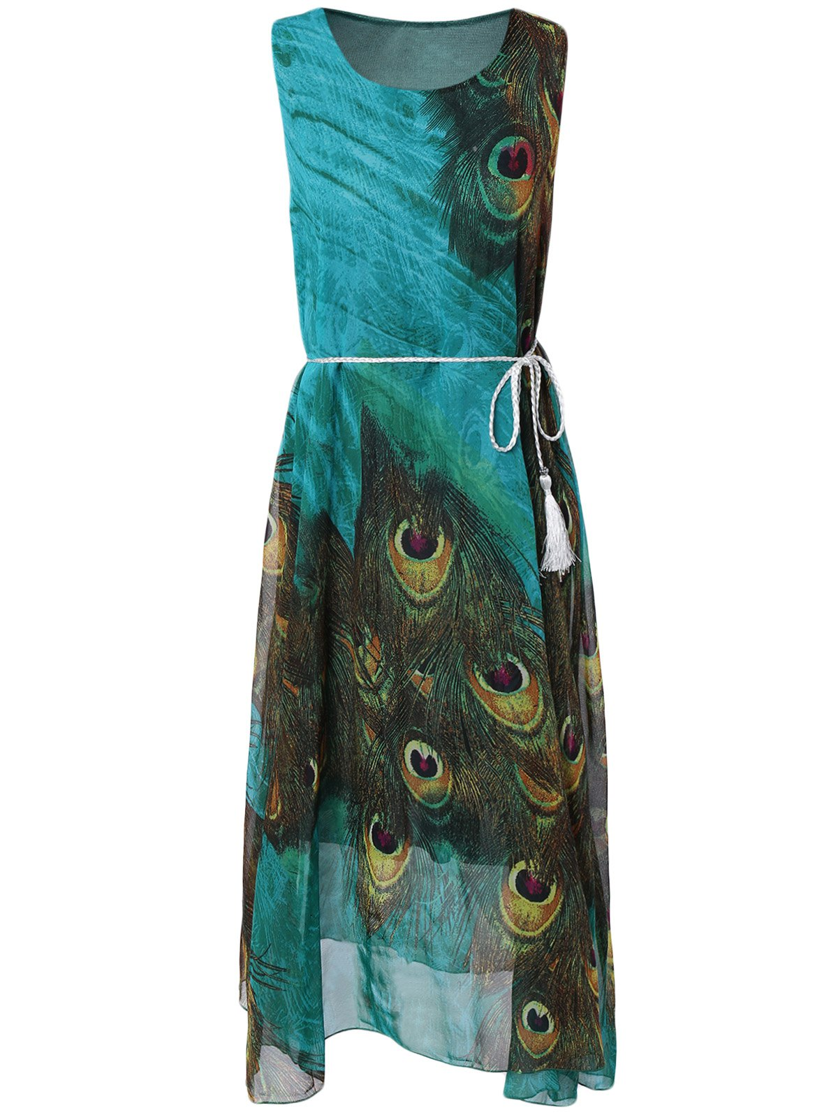 Peacock Feather Pattern Tie Belt Dress - CYAN ONE SIZE
