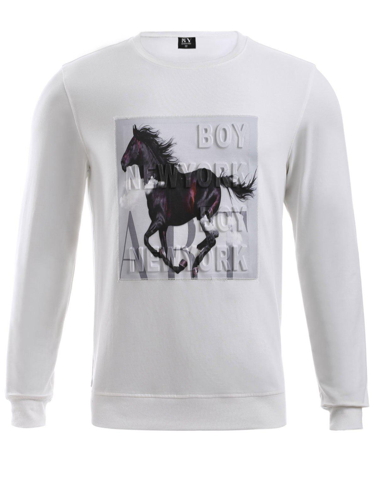 BoyNewYork Round Neck 3D Hores Knurling Sweatshirt - WHITE XL
