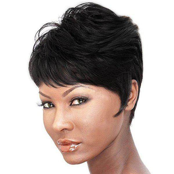 Spiffy Short Pixie Cut Real Human Hair Fluffy Straight Capless Wig For Women - JET BLACK