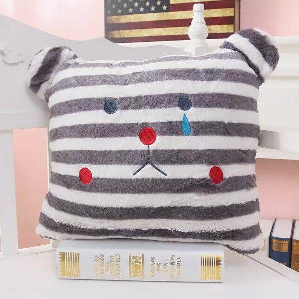 Soft Cartoon Striped Bear Cushion Decorative Pillow - COLORMIX