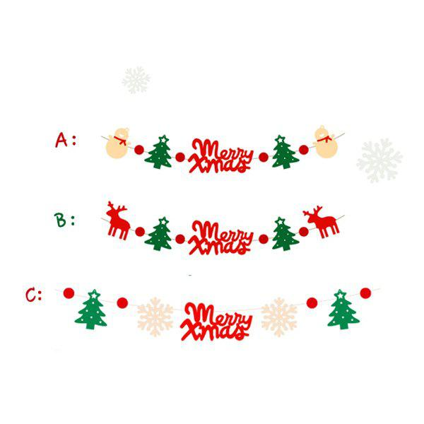 Cute Festival Decor Christmas Tree Deer Letter Hanging Party Supplies Set - COLORFUL