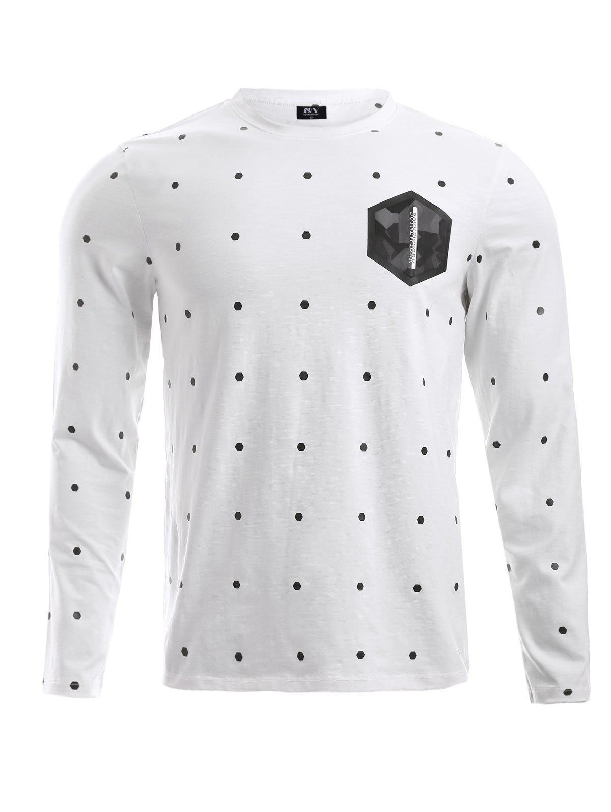 BoyNewYork Dot Geometric Pattern T-Shirt - WHITE XL