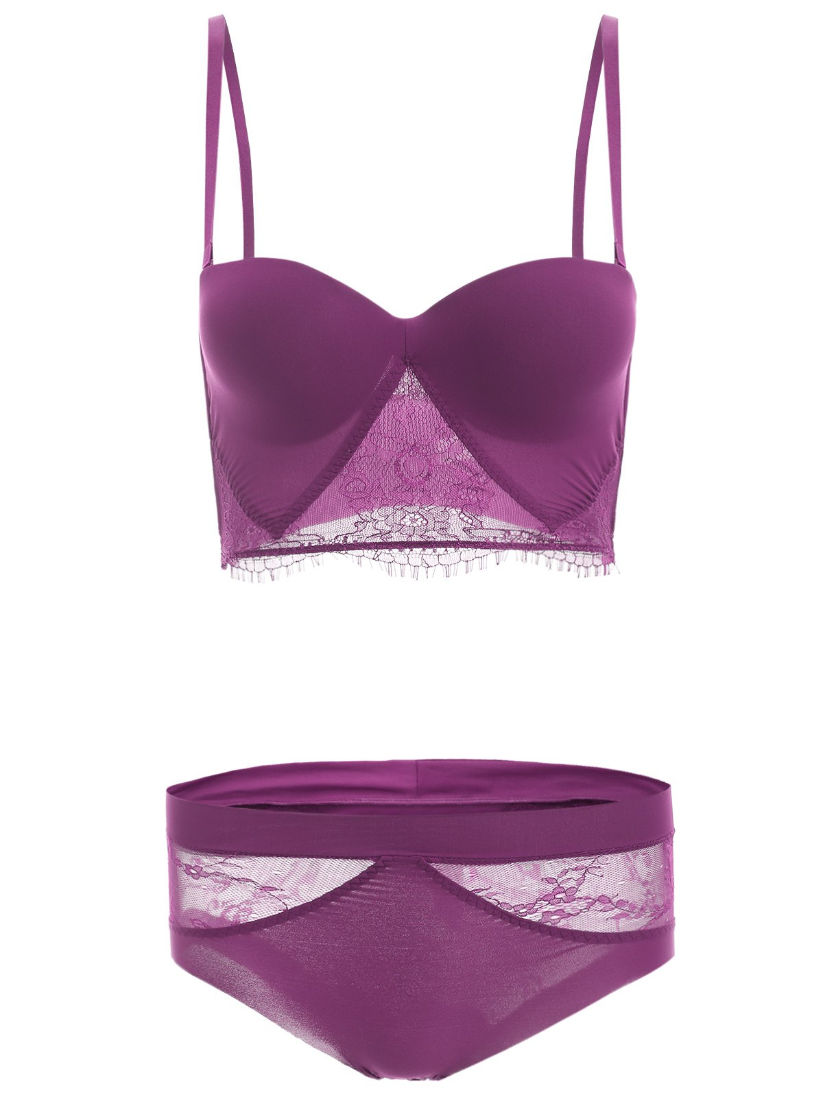 Brief Women's Spaghetti Strap Lace Splicing Bra Set - PURPLE 70C