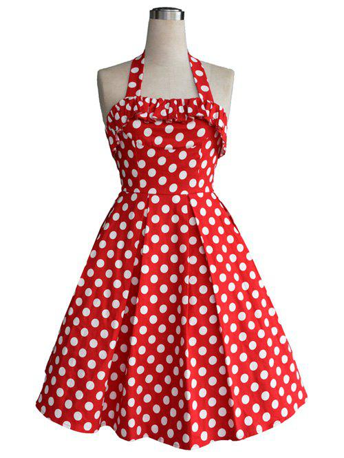 Vintage Halter Flounce Bowknot Back Cut Out Polka Dot Dress For Women - RED 2XL