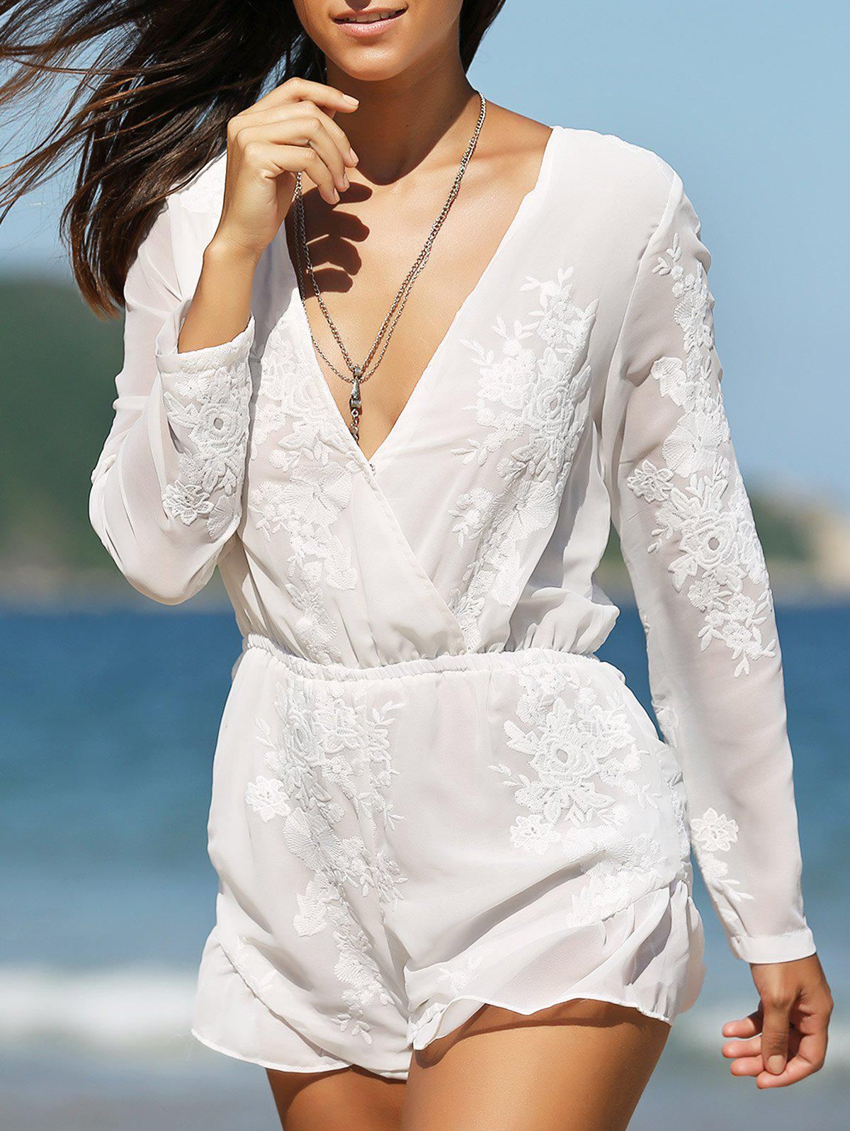 Fashion Plunging Neck Long Sleeve Jacquard Crossed Romper For WomenWomen<br><br><br>Size: M<br>Color: WHITE
