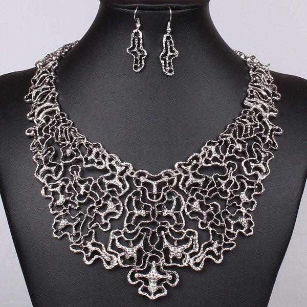 A Suit of Vintage Irregular Filigree Necklace and Earrings For Women