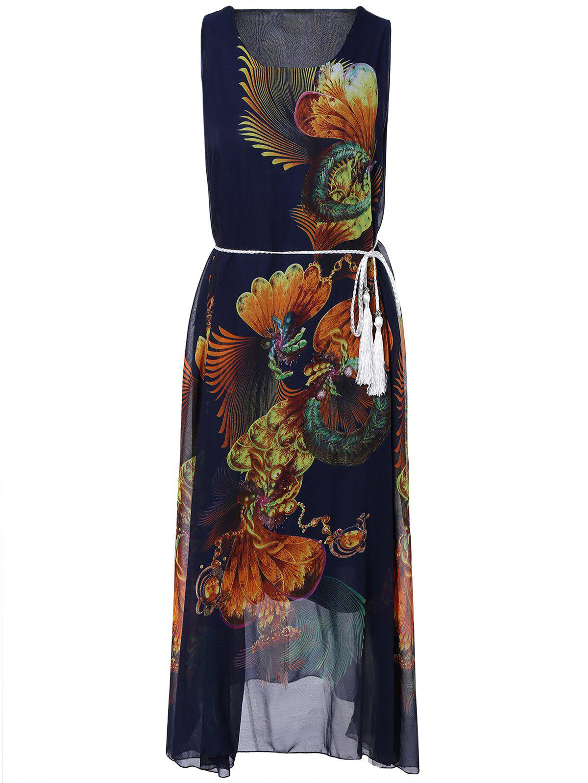 Retro Style Printed Tie Belt Maxi Dress - PURPLISH BLUE ONE SIZE