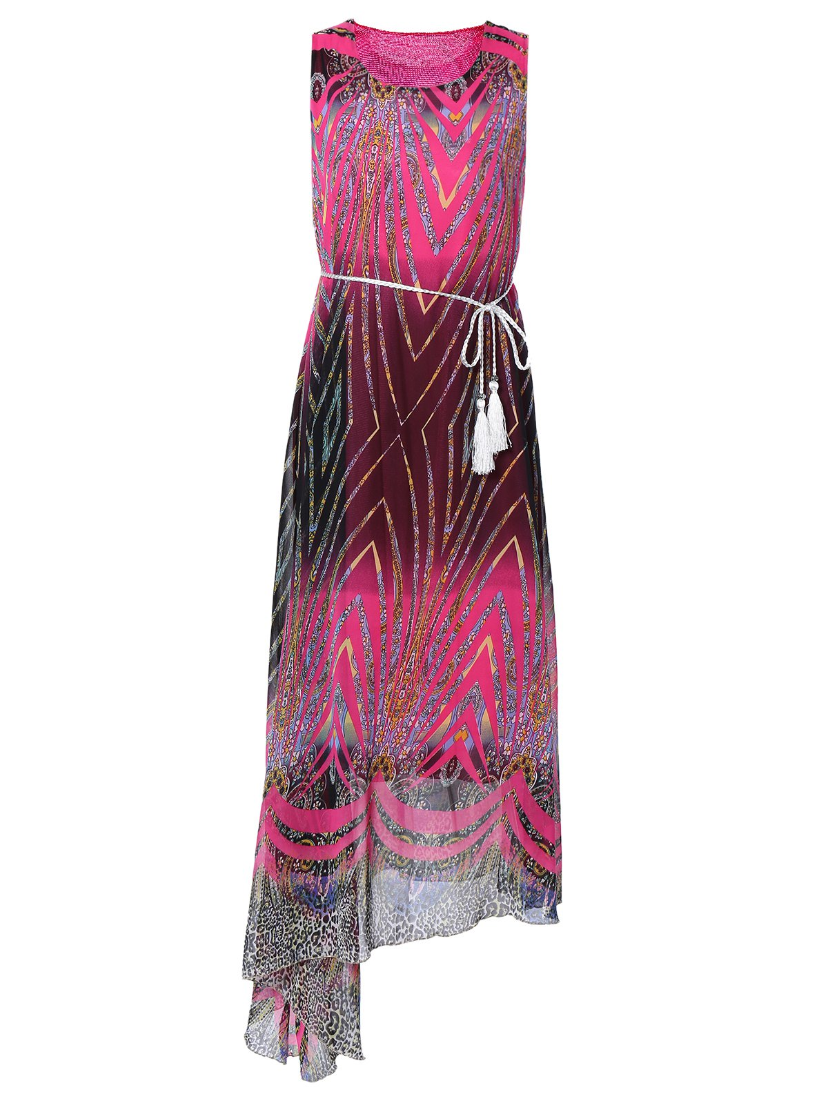 Colorful Asymmetrical Print Chiffon Dress - ROSE RED ONE SIZE