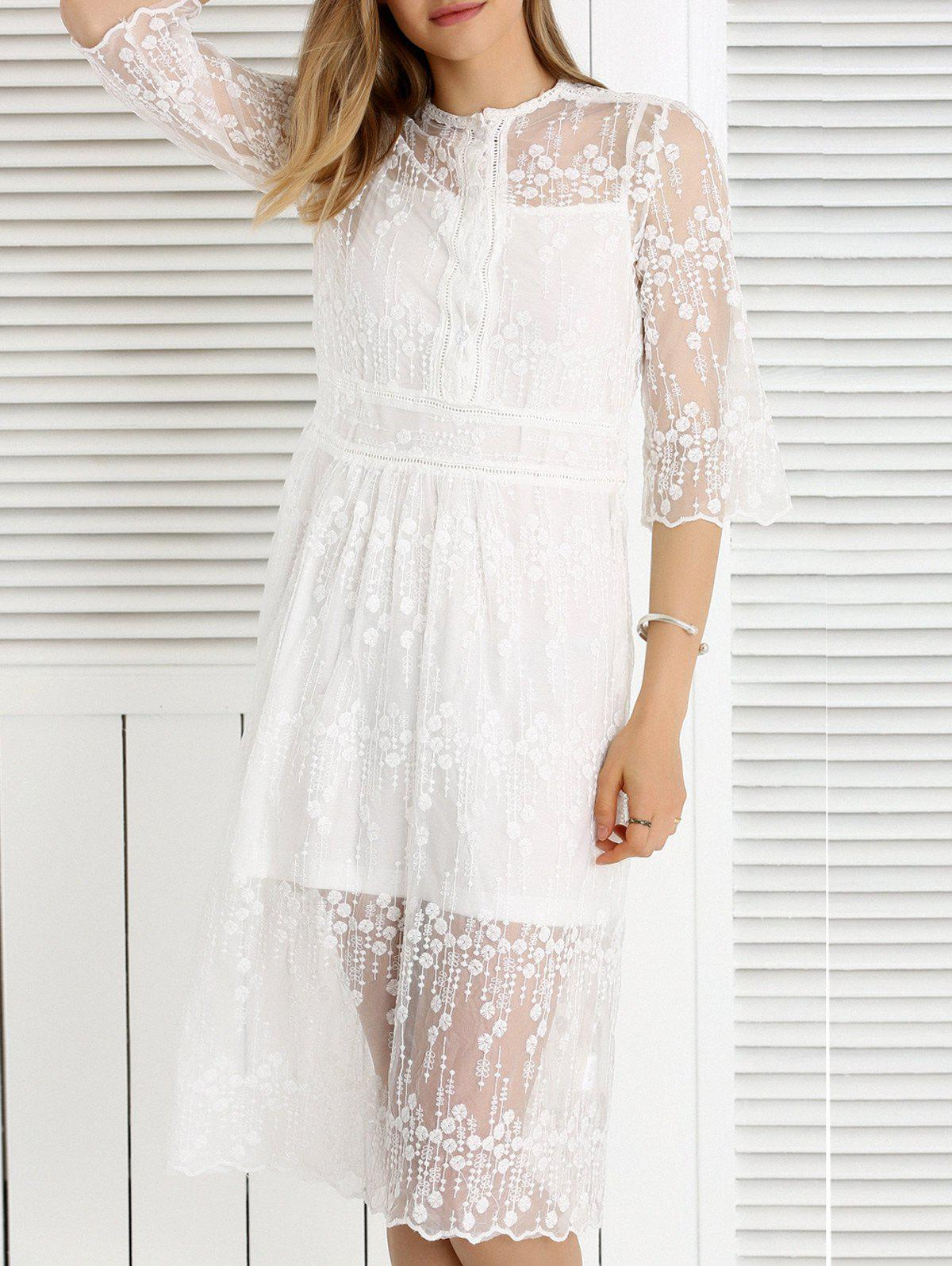 Sweet Cami Tank Top + See-Through Embroidered Dress Women's Twinset - WHITE M
