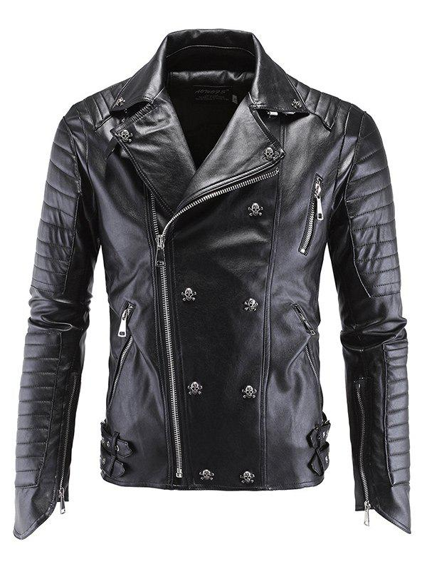 Lapel Collar Skull-Buttons Design Long Sleeves Leather Jacket - BLACK 2XL