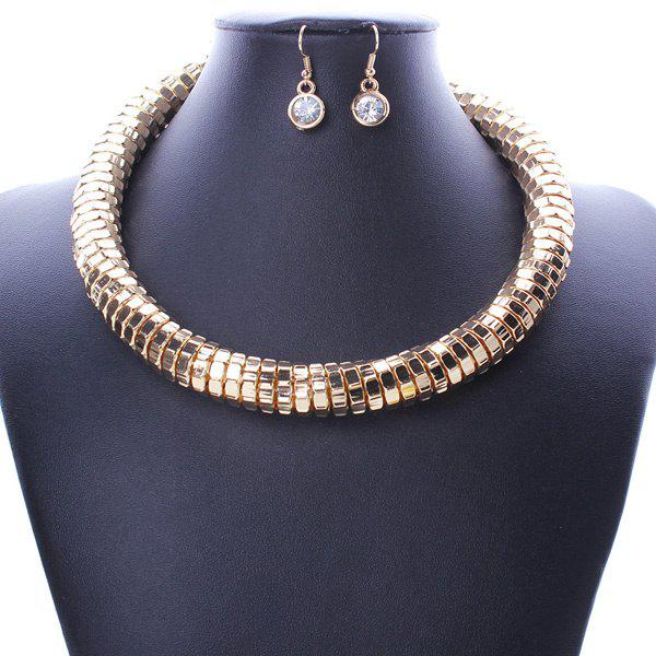 A Suit of Punk Chain Statement Necklace and Earrings For Women