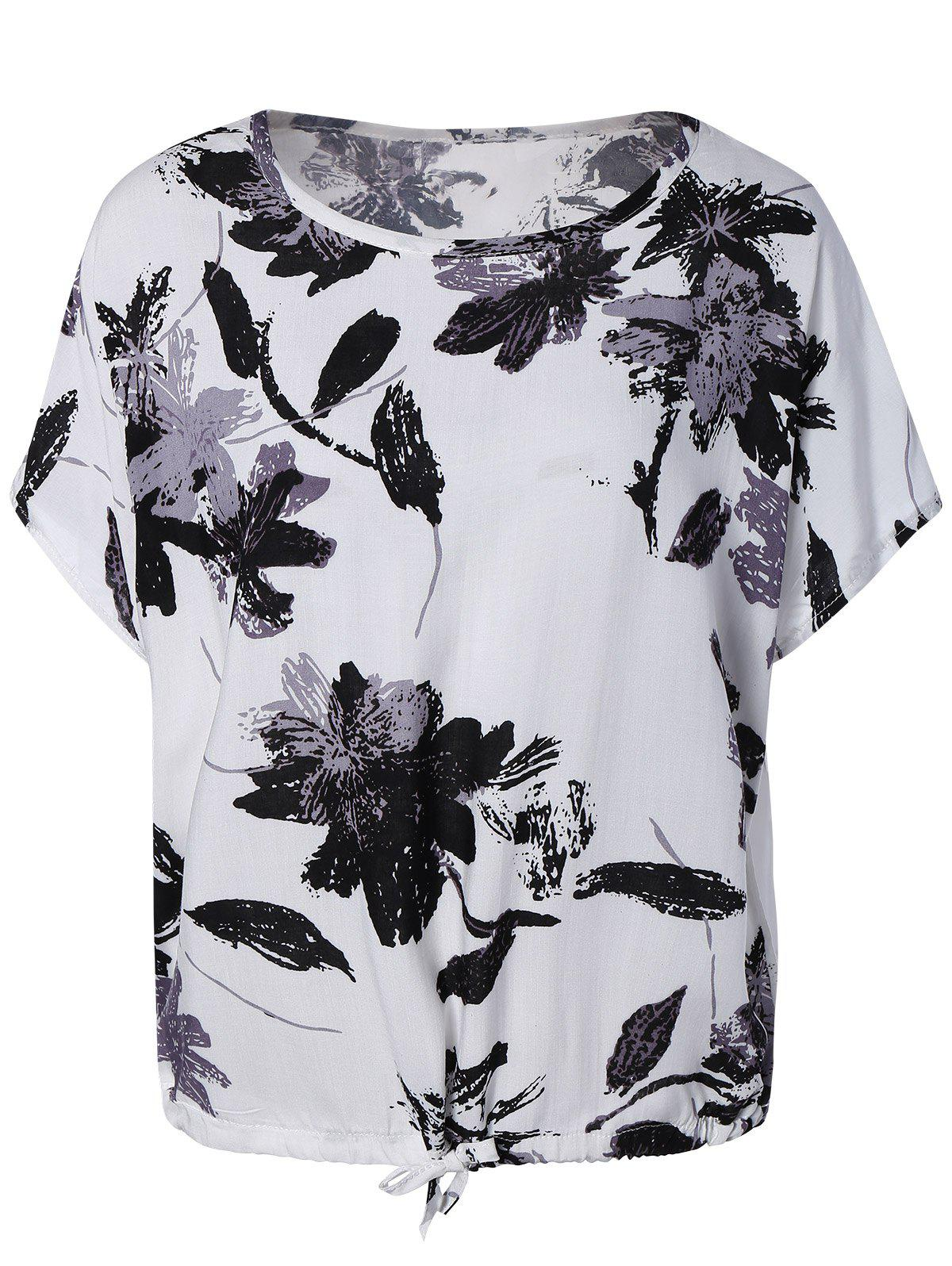 Elegant Ink Painting Floral Pattern Blouse - WHITE ONE SIZE