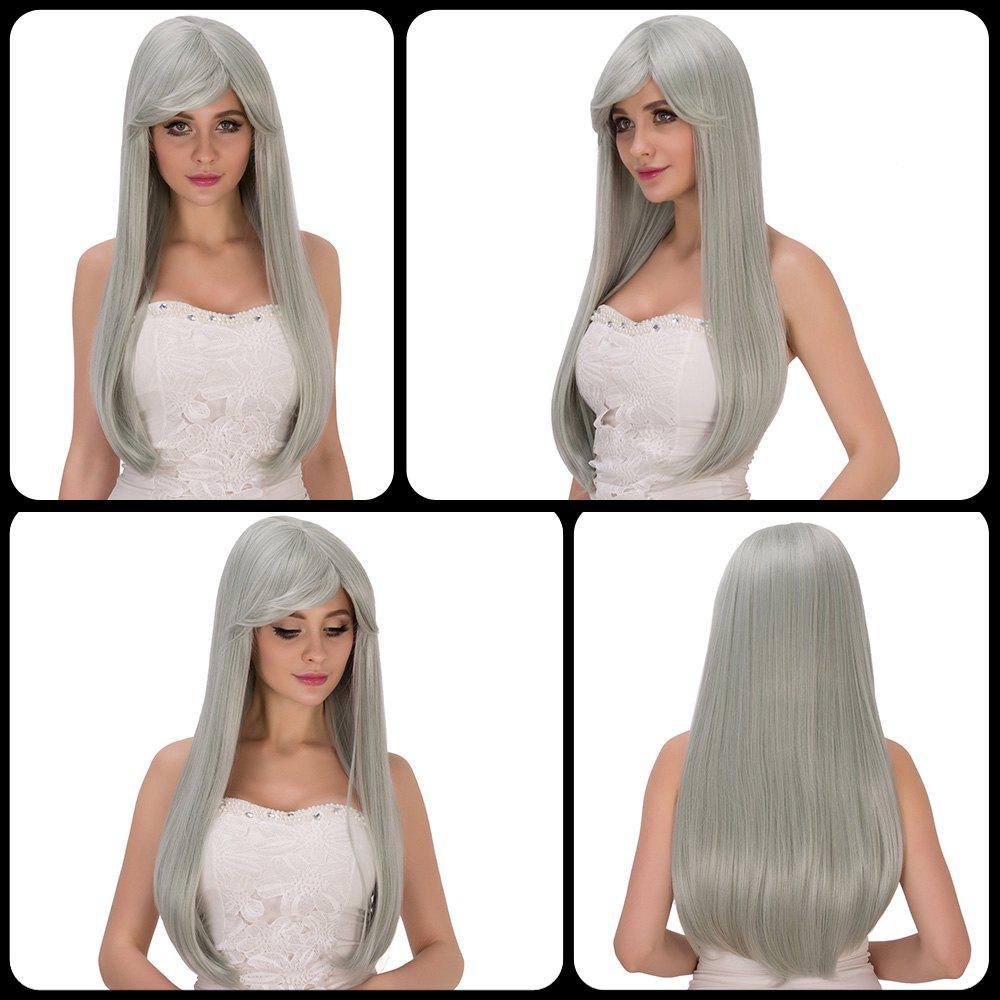 Long Side Bang Silver Grey Green Tail Adduction Women's Stunning Cosplay Lolita Synthetic Wig - COLORMIX