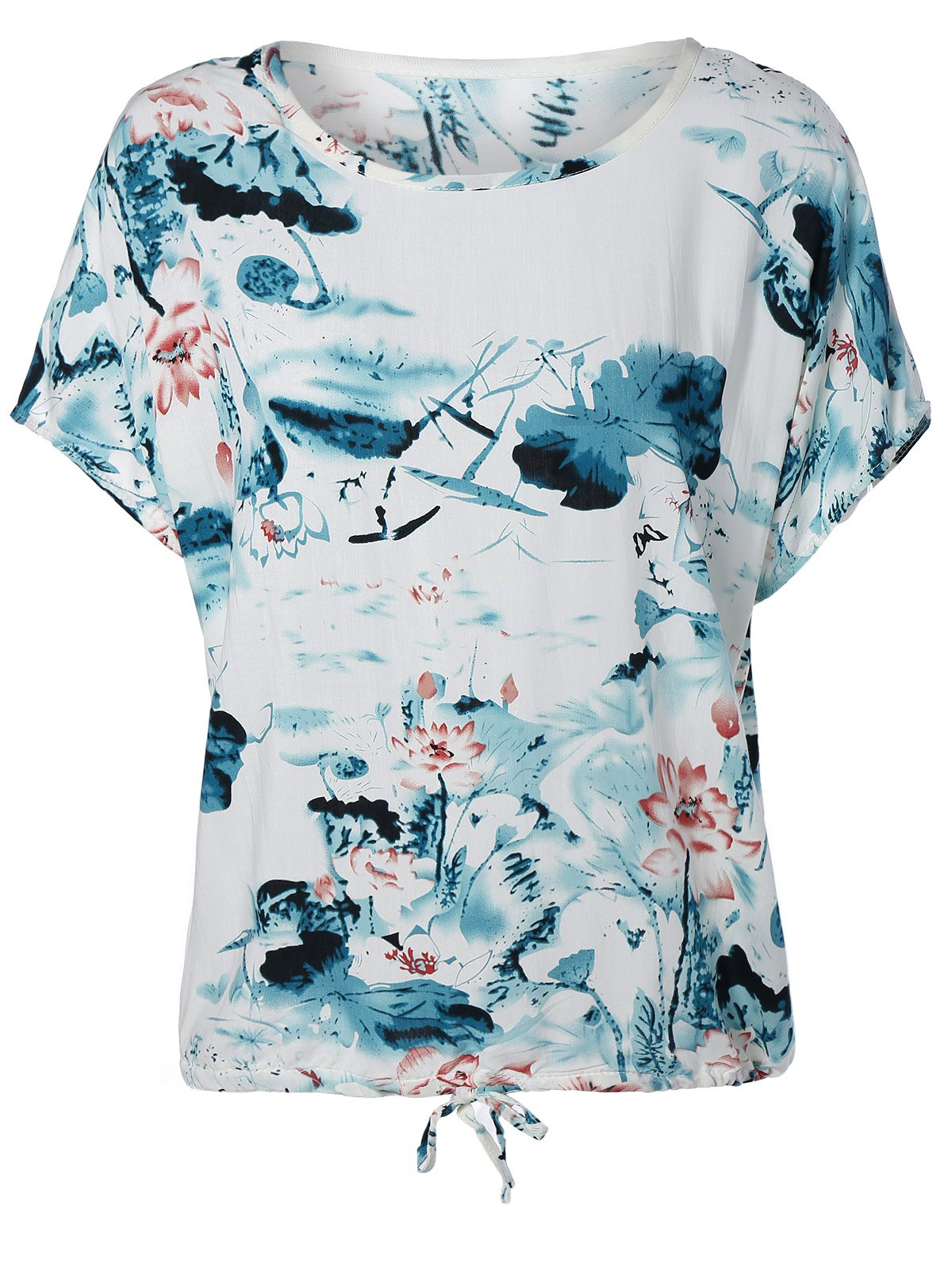 Ink Painting Water Lily Pattern Blouse - CYAN ONE SIZE