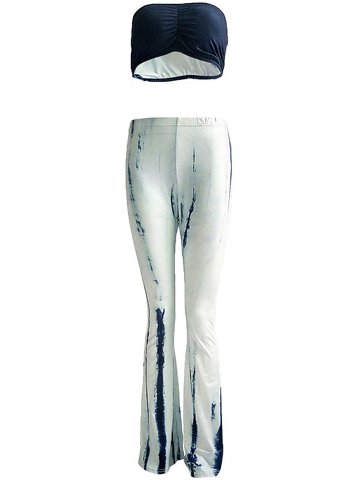 Chic Pure Color Tube Top and Trumpet Pants Set For Women - BLUE/WHITE 3XL