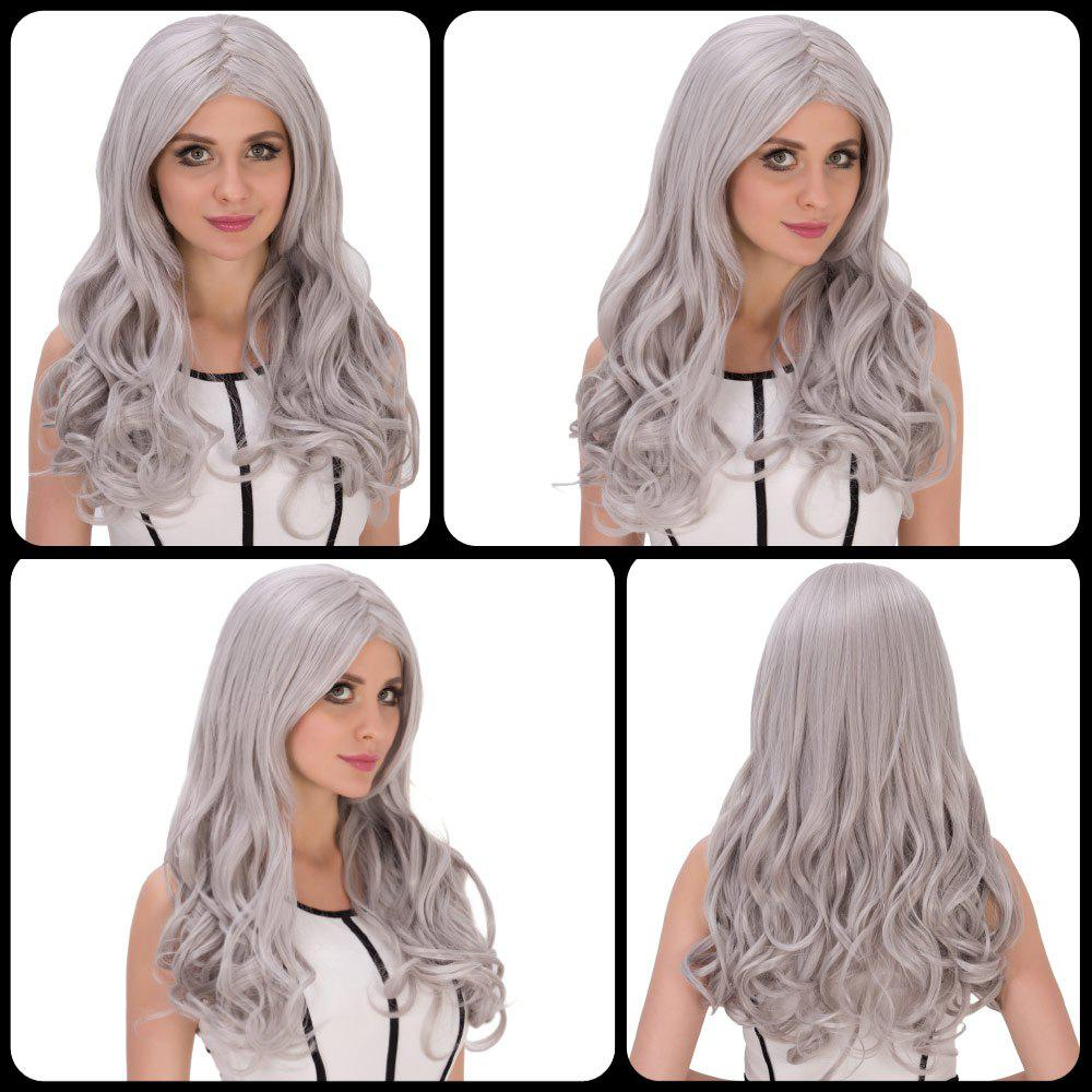 Long Middle Part Wavy Silver Grey Women's Charming Cosplay Lolita Synthetic Wig 2016 new silver grey synthetic lace