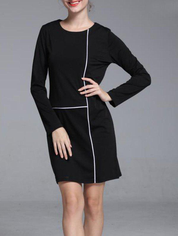Graceful Contrast Trim Round Neck Long Sleeve Shift Dress For Women - BLACK S
