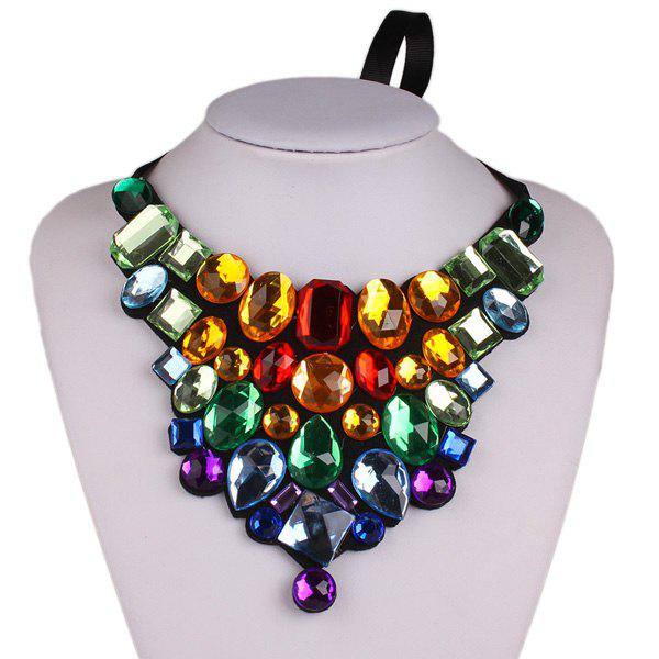 Geometric Faux Crystal Statement Necklace - COLORMIX