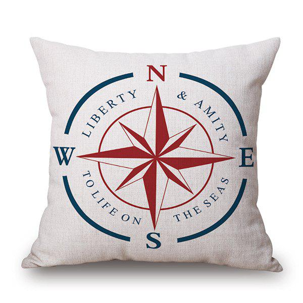 Compass Letter Print Linen Backrest Throw Pillow Case - WHITE