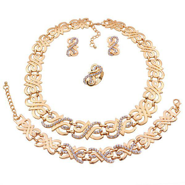 A Suit of Gorgeous Rhinestone Note Necklace Bracelet Ring and Earrings For Women - GOLDEN
