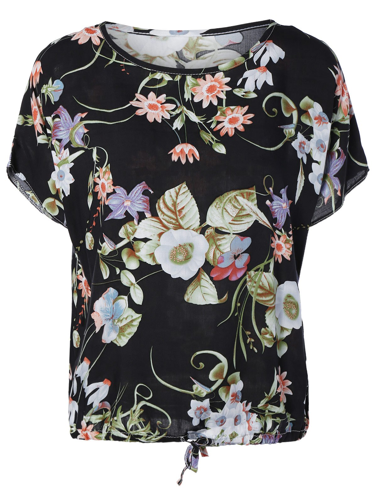Flower Blossom Loose-Fitting Blouse - BLACK ONE SIZE