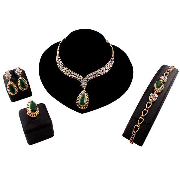 A Suit of Teardrop Faux Emerald Rhinestoned Jewelry Set - GOLDEN