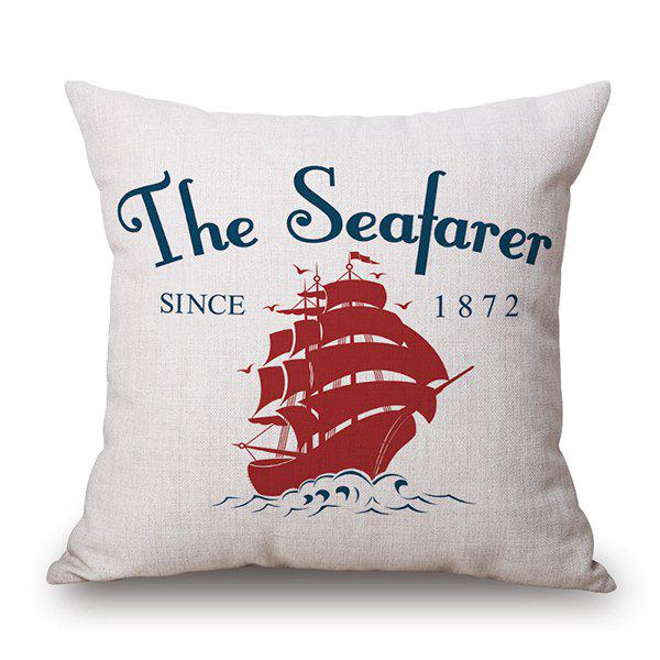 Cartoon Sailing Boat Linen Back Cushion Pillow Case - WHITE
