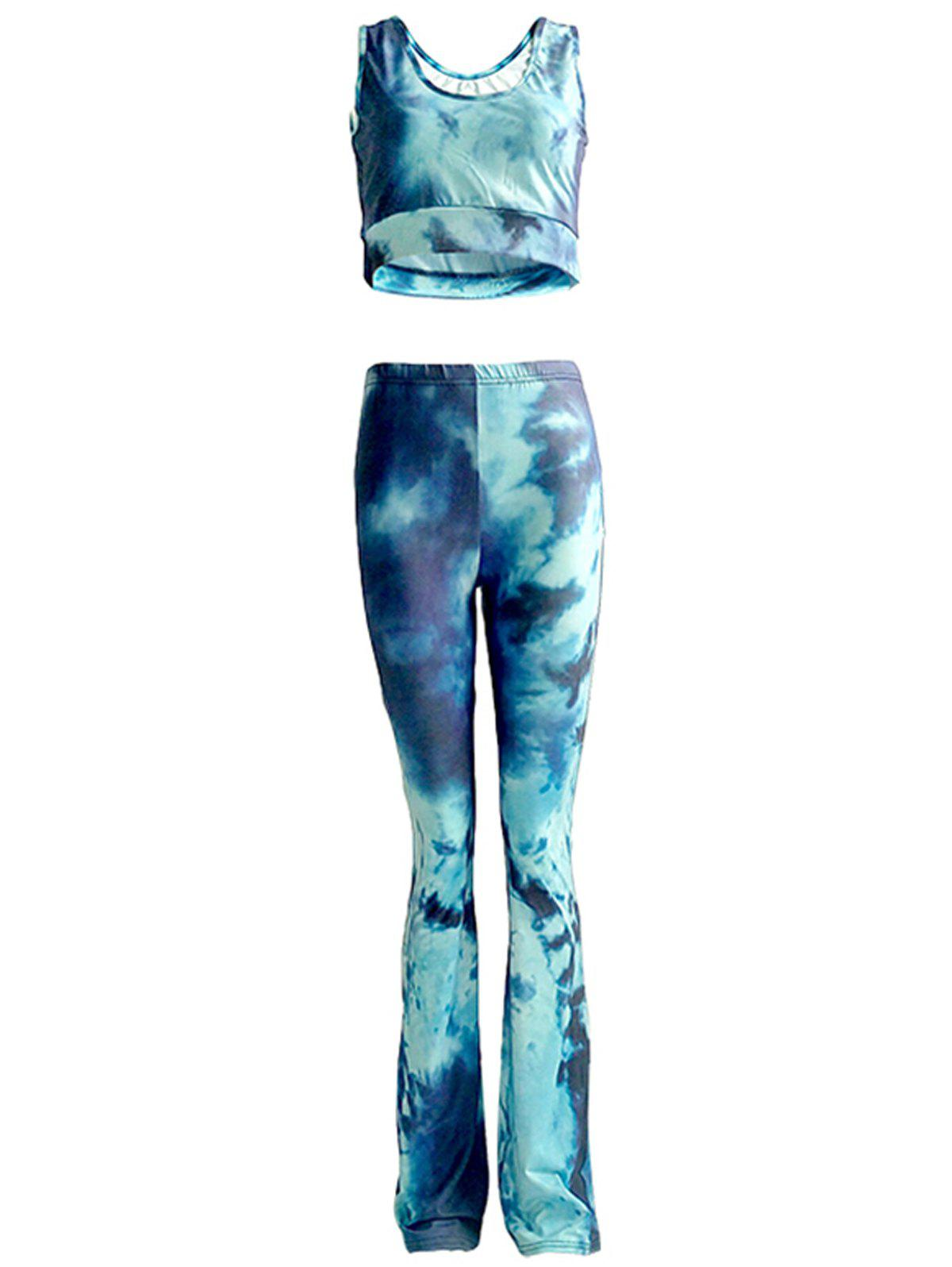 Chic Tie Dye Tank Top and High Waist Pants Set For Women - BLUE 3XL