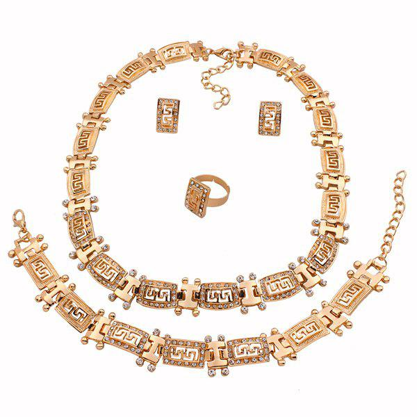 A Suit of Gorgeous Hollowed Fret Necklace Bracelet Ring and Earrings For Women - GOLDEN