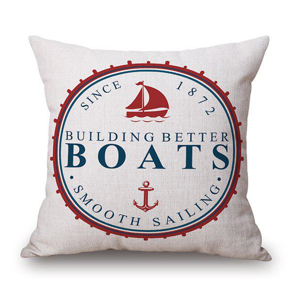 Linen Boats Letter Square Seat Bed Throw Pillow Case - WHITE
