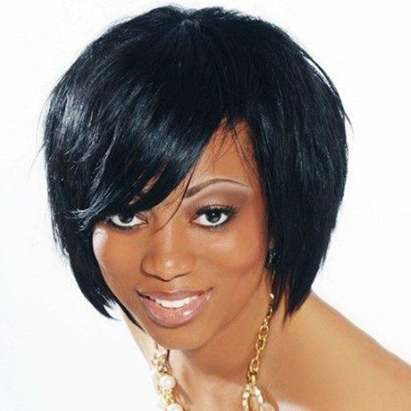 Outstanding Straight Inclined Bang Capless Short Human Hair Wig For Women - JET BLACK