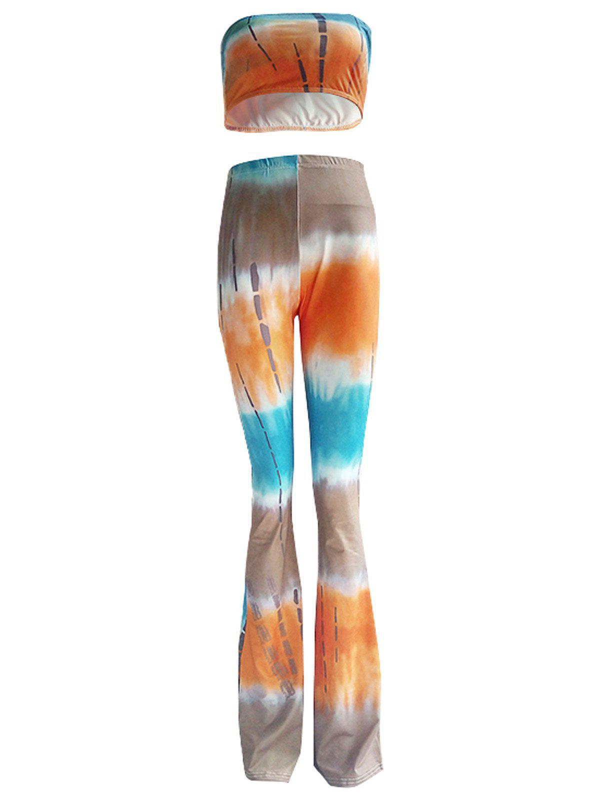 Colorized Padded Tube Top and High Waist Pants Set For Women