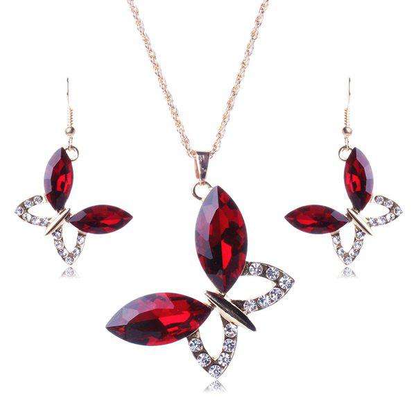 A Suit of Vintage Faux Gem Butterfly Necklace and Earrings For Women - RED