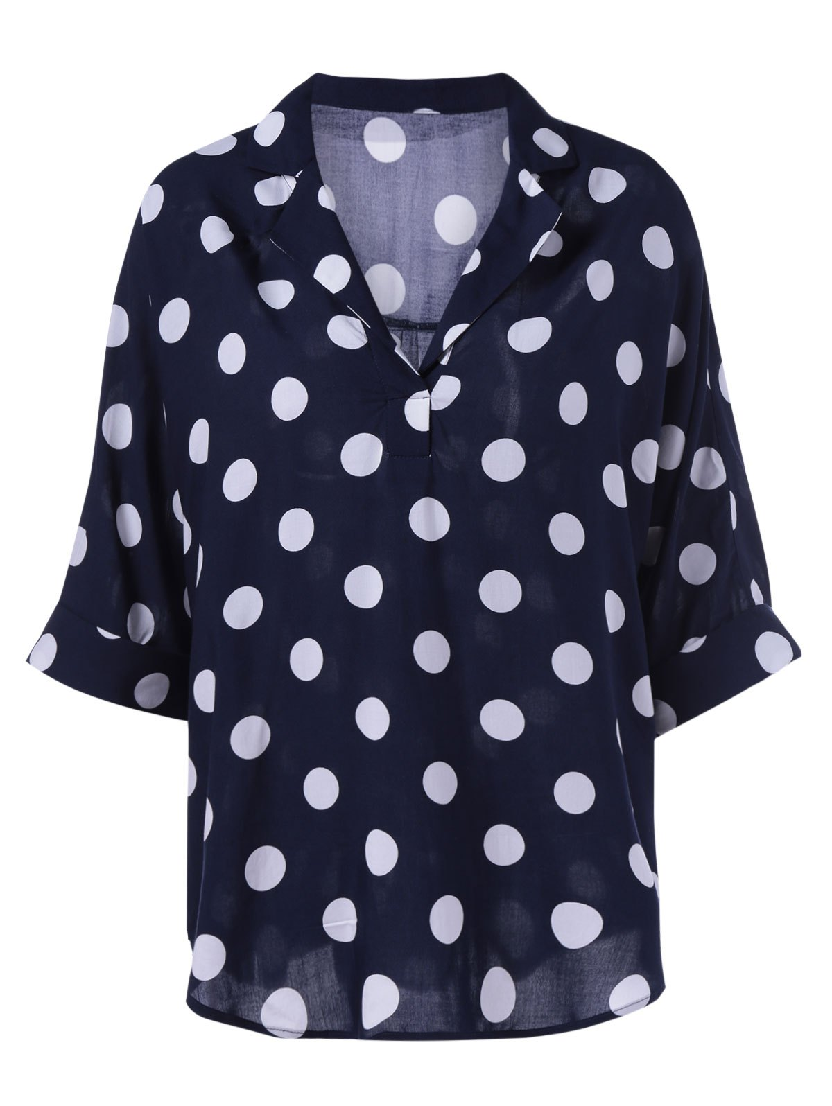Oversized Lapel Polka Dot Print Women's Blouse