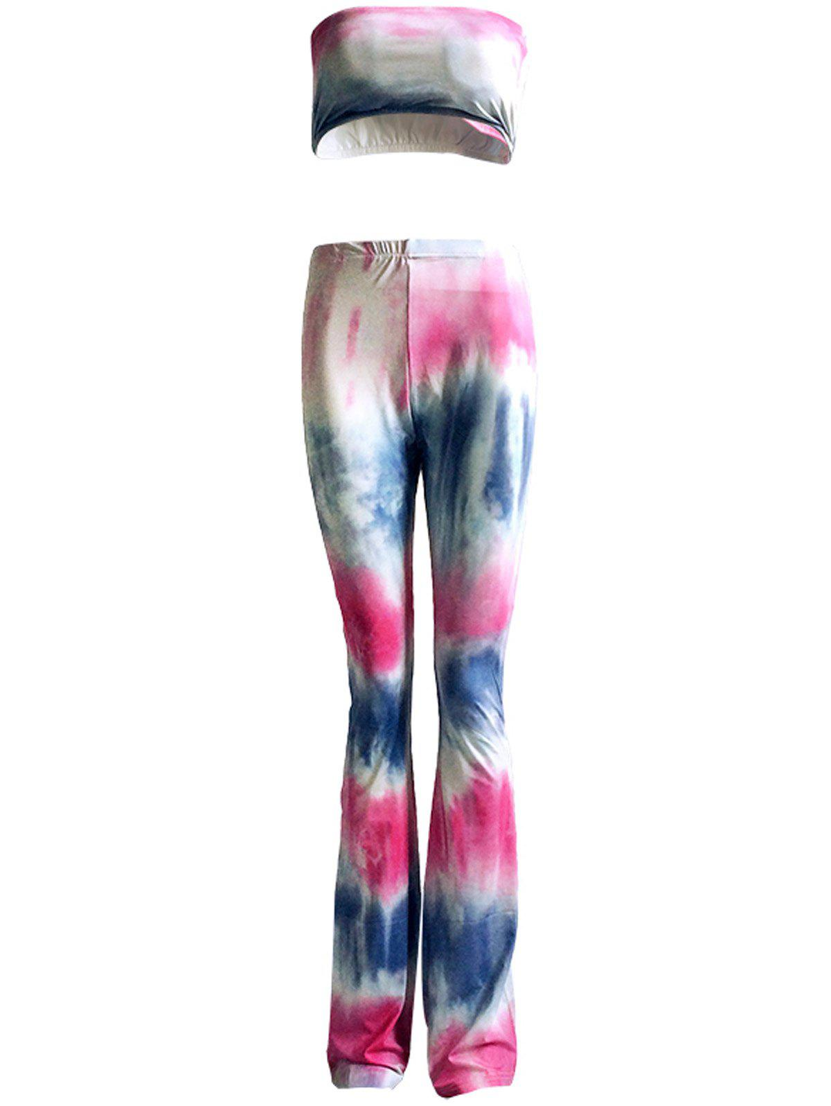 Colorized Padded Tube Top and High Waist Pants Suit For Women - COLORMIX 3XL