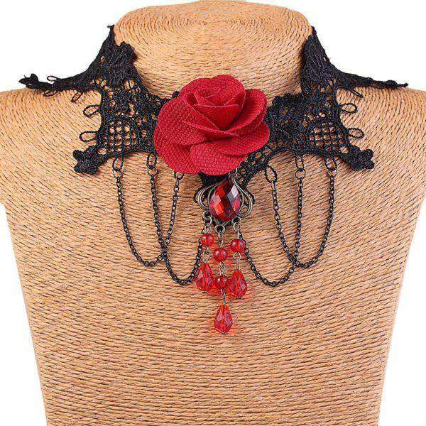 Vintage Flower Fringe Lace Choker Necklace For Women - RED/BLACK