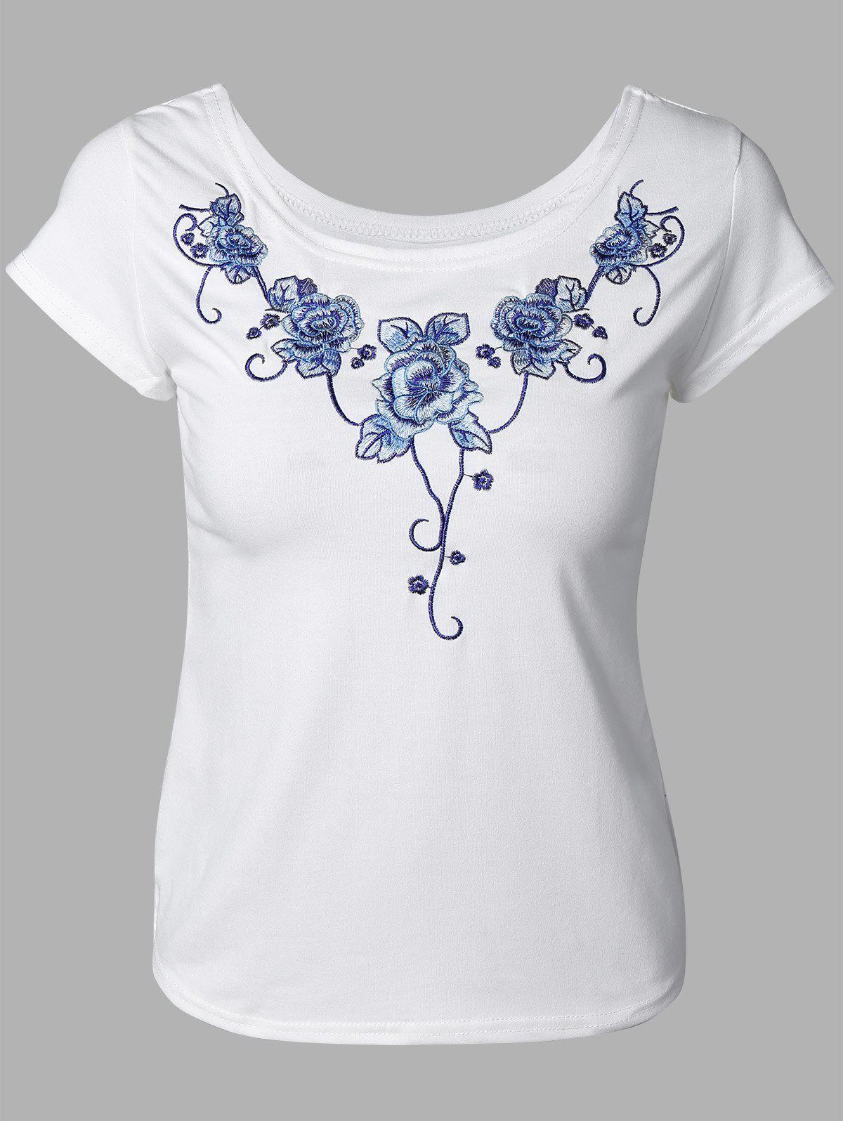 Elegant Floral Embroidery Tee - WHITE ONE SIZE