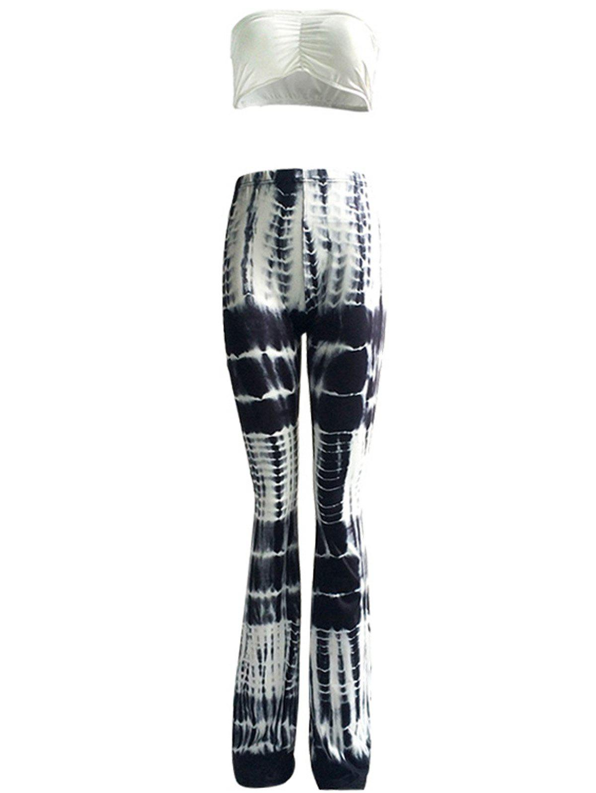 Stylish Ruched Tube Top and High Waist Pants Suit For Women