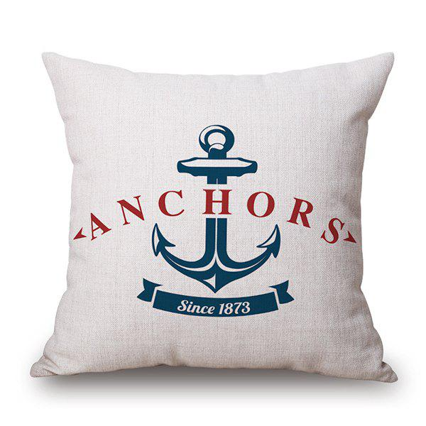 Stylish Plain Base Anchor Letter Pattern Flax Pillow Case