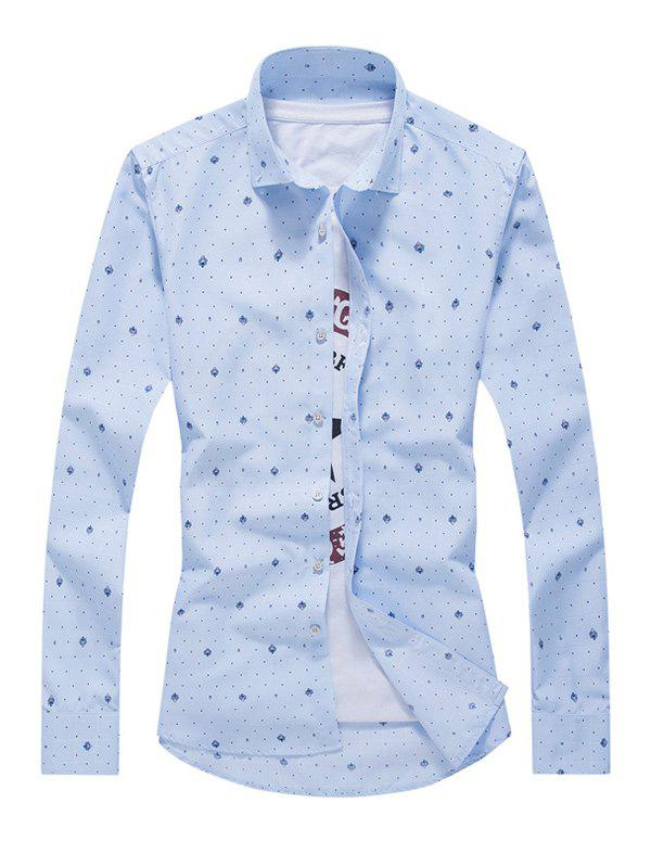 Tiny Polka Dot Print Turn-Down Collar Long Sleeves Shirt For Men